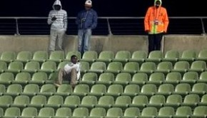 Empty seats are seen during a Confederations Cup Group A soccer match between Spain and New Zealand, at the Royal Bafokeng Stadium in Rustenburg, South Africa, Sunday, June 14, 2009. (AP Photo/Paul White)